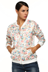 Astar Women Casual Floral Zipper Closure Jacket (White) (Intl)