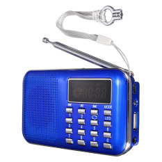 Audew Mini Portable LED Digital FM Radio Speaker USB Micro SD TF Card MP3 Music Player Blue (Intl)