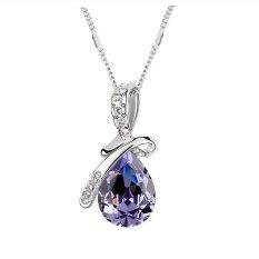 Austrian Crysta Purplel Angel Tears Drop Pendant Necklaces
