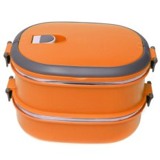 Autoleader 2 Layers Double Portable Stainless Steel Insulated Lunch Box Picnic Container Cskwin2015 Orange (Intl)