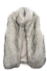 Azone Fashion Women's Faux Fur Vest Medium Long Stand Collar Jackets Coat Vest Waistcoats (Grey)