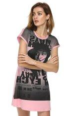 AZONE Finejo Fashion Casual Milk Silk Short Sleeve Home Summer T-shirt Tops (Watermelon Red) - Intl