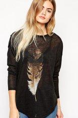 Azone Lady Women Casual Long Sleeve T Shirt Print Asymmetry Hem Loose Knit Tops Blouse (Black) (Intl)