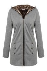 AZONE Meaneor Stylish Ladies Women Casual Long Sleeve Solid Pocket Zipper Hoodie Sweatershirt Leisure Coat Outwear (Dark Grey) (Intl)
