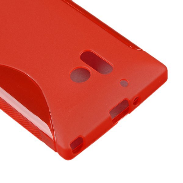 AZONE Smart TPU S-Line Wave Skin Case Cover Back Protector For Nokia Lumia 928 (Red)