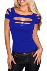 Azone Summer Short Sleeve Pierced Stretch T-Shirt (Blue) - Intl - Intl