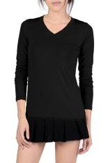 Azone V-Neck Fitted Plain T-Shirt (Black) - Intl