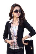 AZONE Women OL Coat Lapel One Button Long Sleeve Short Suit Blazer Jackets Coats(Black) (Intl)