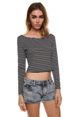 AZONE Women's Long Sleeve Crop Tops Cropped Scoop Neck Casual T-Shirt Blouse (Black) (Intl)