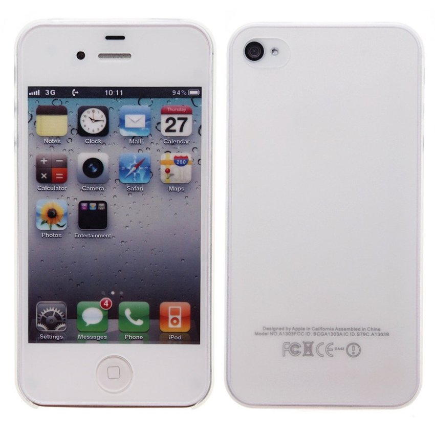 Back Cover Skin Case for iPhone 4 4S (White)