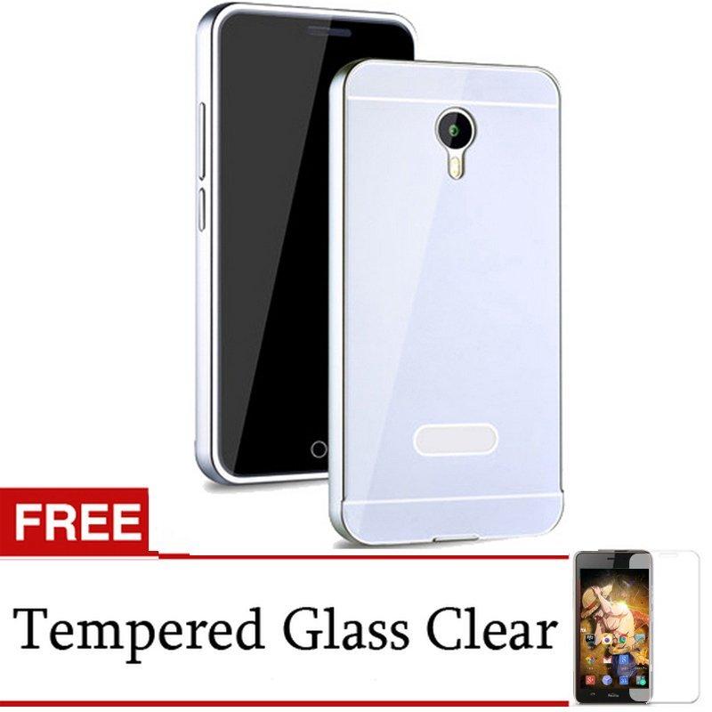 Back Door Case Meizu M2 Note Metal Aluminium Bumper - Silver + Gratis Tempered Glass