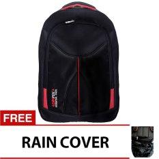 Bag & Stuff Campus Essential Backpack with Laptop Slot - Hitam + Gratis Rain Cover