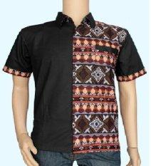 Baladewa Batik Kemeja Pria Kombinasi Polos Hitam 3823