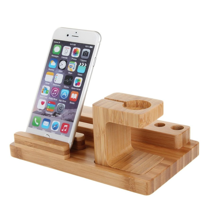 Bamboo Combo Charging Dock Cradle Holder for Apple Watch/iPhone 6/6 Plus/iPad Mini Wood Color