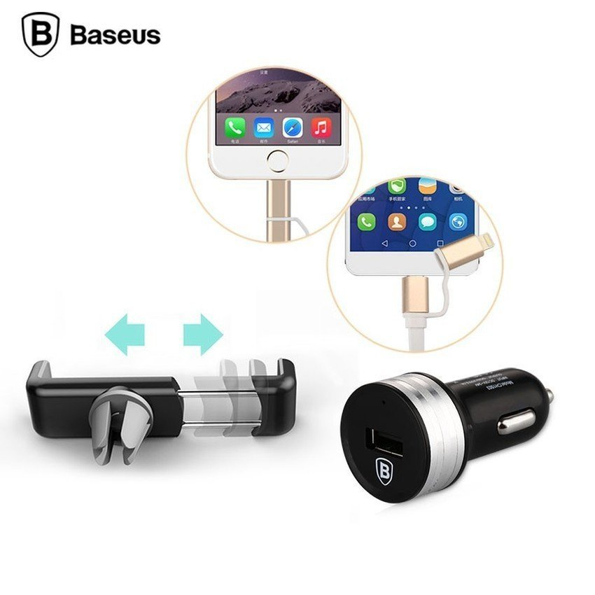Baseus 3 in 1 Series Duo Lightning Micro USB Cable + Car Charger + Air Vent Mount - Hitam
