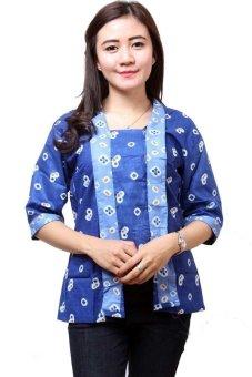 Batik Distro BA4871 Blus Wanita Kebaya Kotak Pendek - Biru | Lazada ...