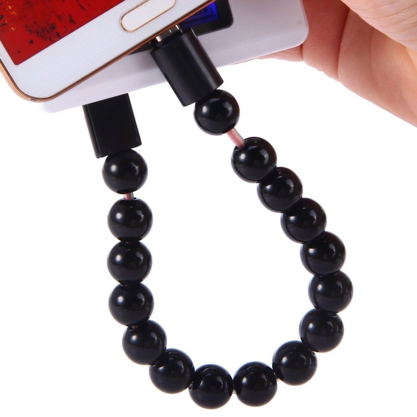 Beads Bracelet Portable Charging Cable (Black) (Intl)