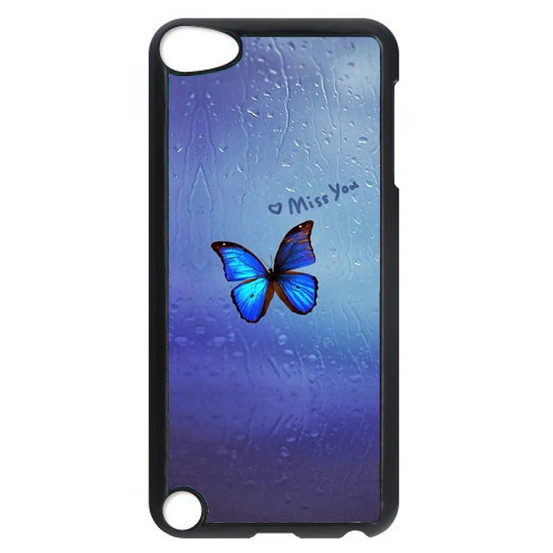 Beautiful Blue Butterfly Phone Case for iPod Touch 4 (Black)