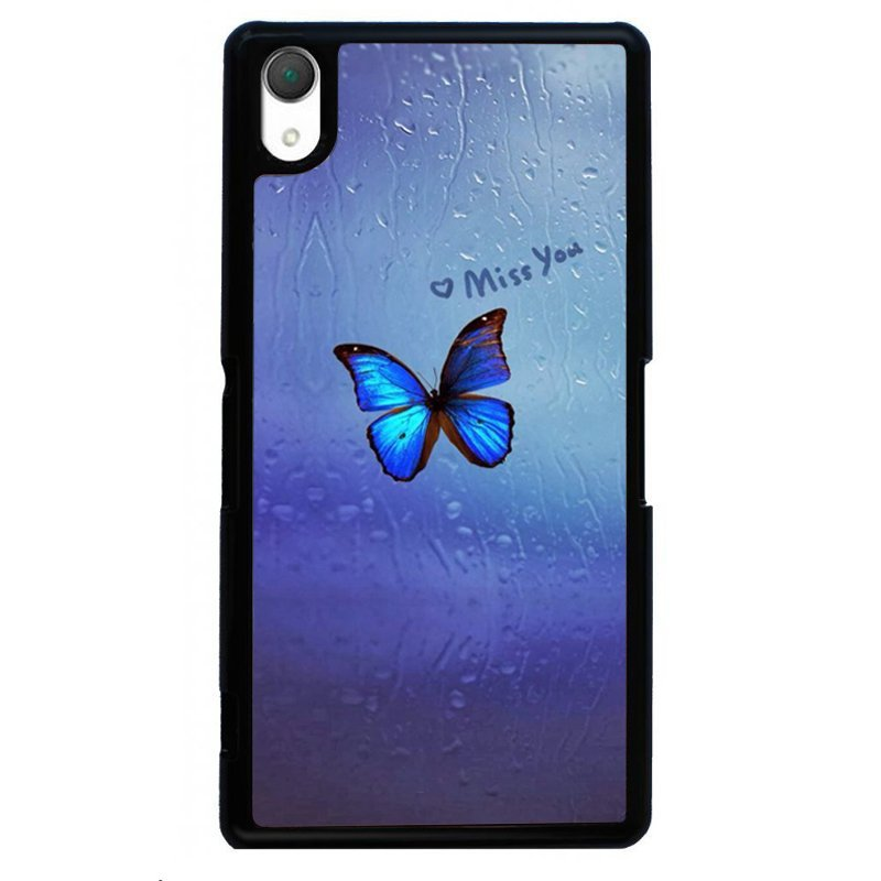 Beautiful Blue Butterfly Printed Phone Case for SONY Xperia Z4 (Black)
