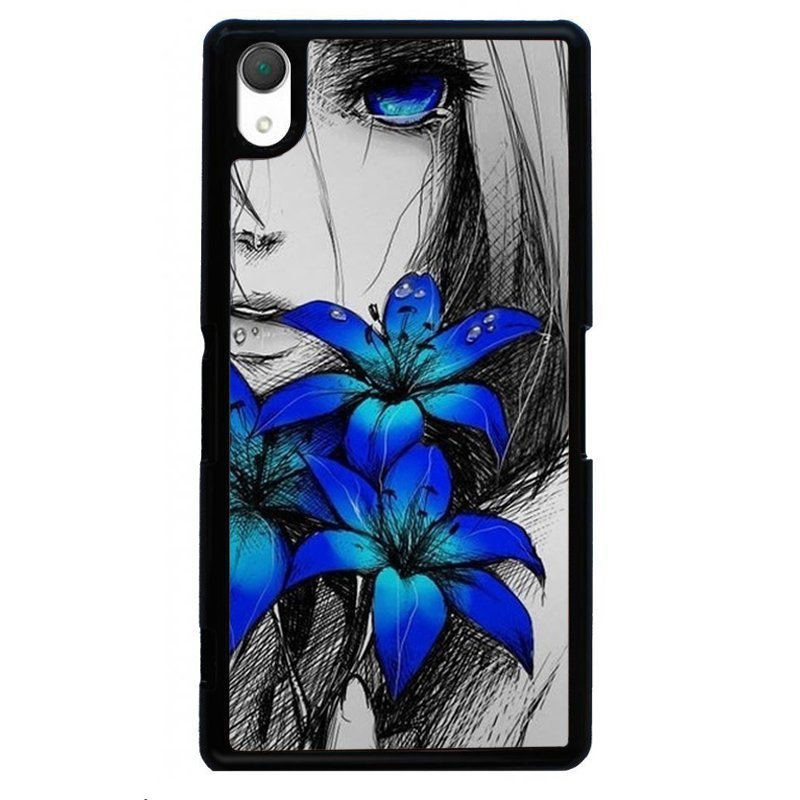 Beautiful Blue Flower Printed Phone Case for SONY Xperia Z3 (Black)