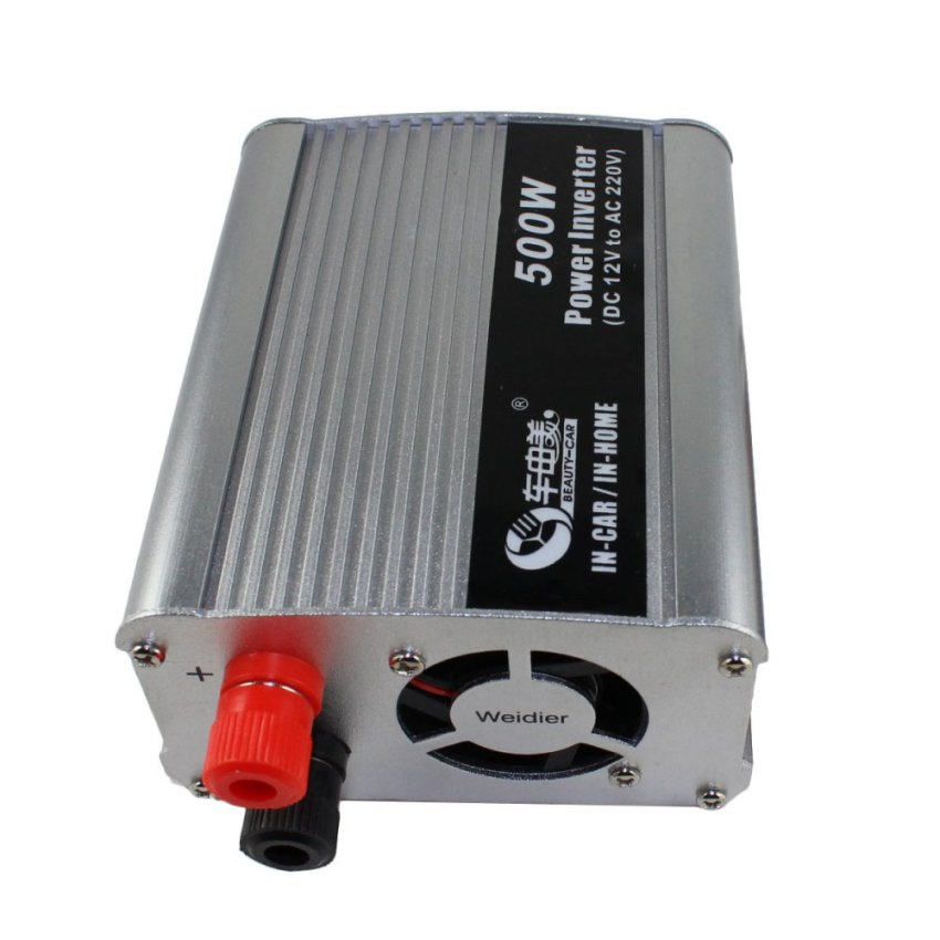 BEAUTY-CAR 500W DC 12V to AC 220V Car Power Inverter –Silver (Intl)