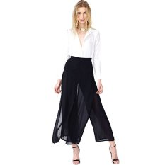 Belladiary Women's Double Layer Palazzo Wide Leg Chiffon Loose Pants 142435411 Black (Intl)