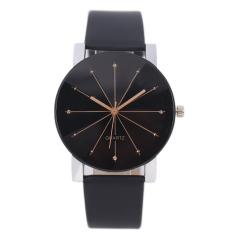 Bessky® Luxury Men's Black Round Dial Clock Leather Strap Quartz Wrist Watch-men (Intl)