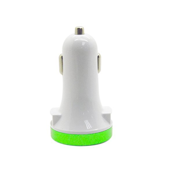 Best CT 3.1A-5V Side Slot Dual USB Super Car Charger  Putih/Hijau