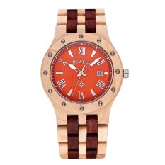 Bewell BEWELL Brand Watches High-end Men's Sports Leisure Table Ebony Wood Wrist Watch-Red & White Sandalwood Orange (Intl)