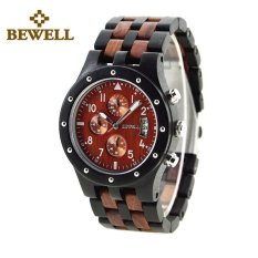 BEWELL Handmade Men Wood Watch Luxury Natual High Quality Sandalwood Male Six-hands Watches 109D (Brown)
