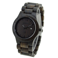 BEWELL High-quality Brand Fashion Wood Quartz Watch Water-resistant Luminous Men Women Ebony Wooden Casual Wristwatch With Calendar - Intl