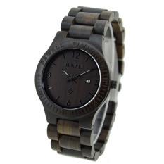 BEWELL High-quality Brand Fashion Wood Quartz Watch Water-resistant Luminous Men Women Ebony Wooden Casual Wristwatch With Calendar - Intl