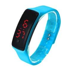 Bigskyie Fashion Ultra Thin Girl Men Sports Silicone Digital LED Sports Wrist Watch Blue