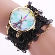 Bigskyie Lace Wrap Around Bracelet Crystal Synthetic Chain Analog Quartz Wrist Watch Black Free Shipping