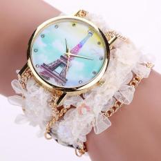 Bigskyie Lace Wrap Around Bracelet Crystal Synthetic Chain Analog Quartz Wrist Watch White Free Shipping