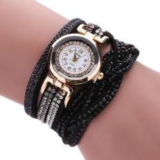 Bigskyie Women Luxury Crystal Women Gold Bracelet Quartz Wristwatch Rhinestone Watches Black Free Shipping