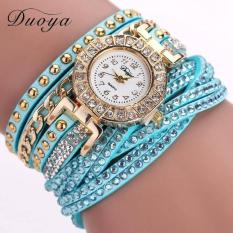 Bigskyie Women Luxury Crystal Women Gold Bracelet Quartz Wristwatch Rhinestone Watches Blue Free Shipping