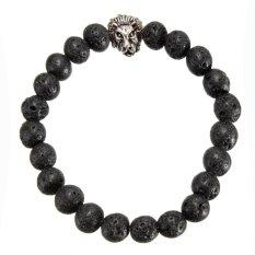 Black Lava Rock Stone & Silver Lion Head Men's Bracelet 6.5cm Dia 8mm Beads NEW - Intl