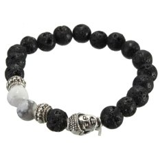 Black Lava Rock Stone White Turquoise Silver Buddha Head Mens Bracelet 8mm Beads - Intl