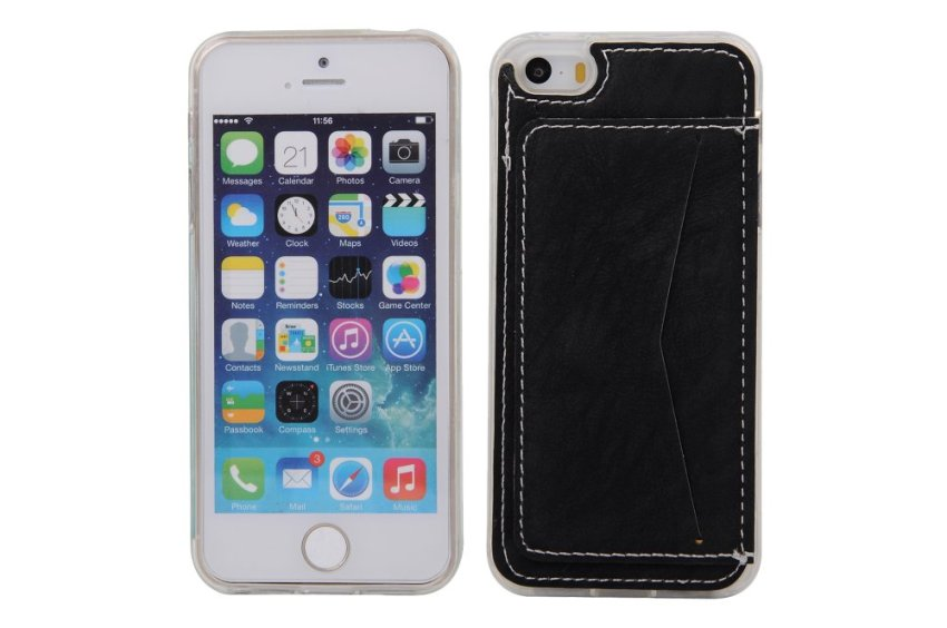Black Soft TPU Back Case Cover Protective Shell with Card Holder Apple iPhone 5 5S Case (Intl)