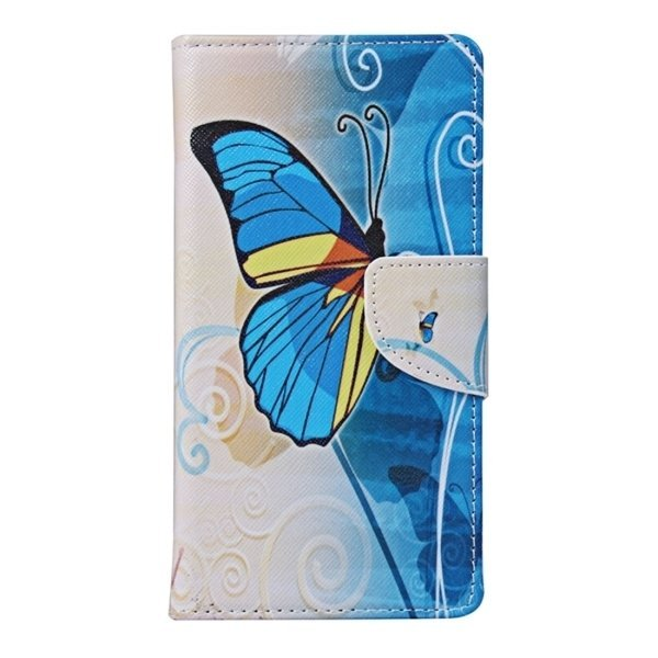 Blue Butterfly Pattern Horizontal Flip Leather Case with Holder and Card Slots and Wallet for Motorola Moto X Style (Intl)