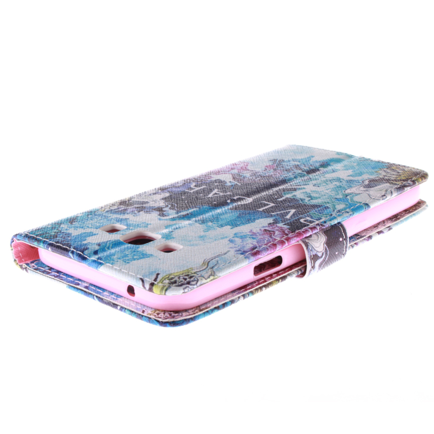 Blue Color Double Painting with Built in Card Slot Flip Leather Cover for Samsung Galaxy E7 (Multicolor) (Intl)