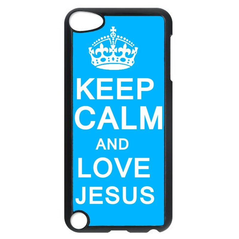 Blue Keep Calm Pattern Phone Case for iPod Touch 4 (Black)
