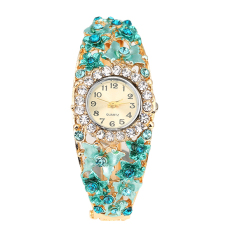 Bluelans Women's Flower Butterfly Dress Watch Rhinestone Bracelet Wristwatch (Blue)