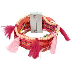 Bohemian Women Braided Tassel Bracelet Pink - Intl
