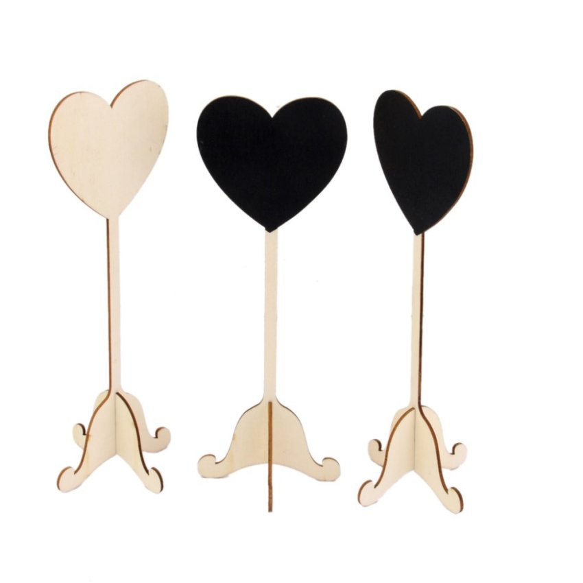 BolehDeals 10pcs Wooden Heart Shape Blackboard Table Numbers Stand Wedding Party Favors (Intl)