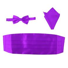 BolehDeals 3pcs Men's Satin Bow Tie Cummerbund Hanky Handkerchief Purple