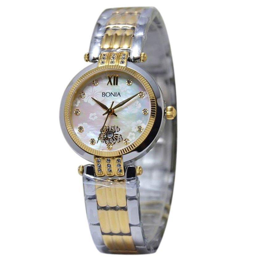 Bonia - Jam Tangan Wanita - Silver Gold - Stainless Steel - BN10133-2113S