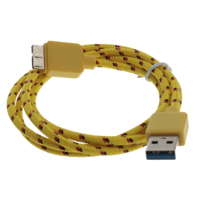 Braidde Micro USB 3.0 Cable For Samsung Galaxy S5 Note 3 Light Yellow 1m