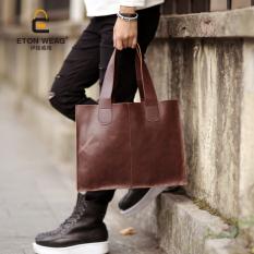 Brand Design New Korean Men's Handbag Old School Single Shoulder Bag Picture Package Bag Portable Bag Fashion Leisure Briefcase Cool Bag -Black